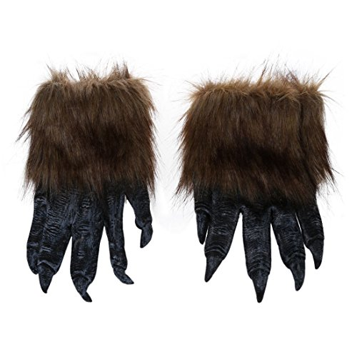 SODIAL(R) 1 par Guantes de Lobo Mascara de Halloween Juego de mascaras de Animales Hombre-Lobo Mascarada Lobo (Tamano: L, Color: Negro)