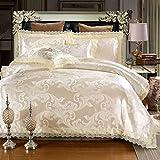 Asvert 4 teilig Bettwäsche-Sets 100% Baumwolle Bettwäsche 1 Bettbezug und 2 Kissenbezug (200 * 230CM, Gold)