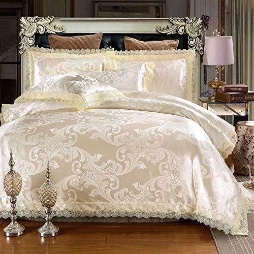Asvert 4 teilig Bettwäsche-Sets 100% Baumwolle Bettwäsche 1 Bettbezug und 2 Kissenbezug (220 * 240, Gold)