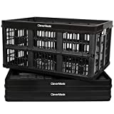 CleverMade 45L Collapsible Storage Bins, Plastic Stackable Grated Wall Utility Containers, CleverCrates Baskets, Black, 3 Pack