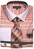 Men's Two Tone Plaid French Cuff Dress Shirt with Tie Handkerchief Cufflinks - Coral 17.5 36-37