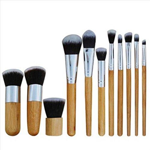FUHOAHDD 11 Stück Naturholz Make-up Pinsel Stellen Sie EIN Professionell Antibakteriell Vom...