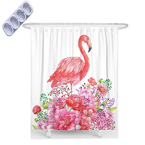 3D Tier Pferd Einhorn Blumen Duschvorhänge, Meer Tier Schildkröte Giraffe Wasserdicht Duschvorhänge mit Haken, Duschvorhänge Schimmel Beweis Beständig Waschbar (Flamingo, 90x180cm)