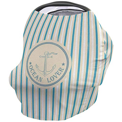 Fantastic Prices! Ocean Lover Nursing Cover for Baby Breastfeeding, Soft Breathable Stretchy Carseat...