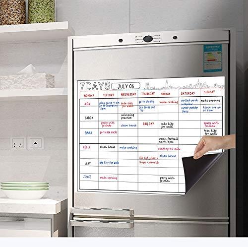 Cubber1996 Pizarra magnética de borrado en seco, organizador semanal y planificador para nevera de cocina con tecnología resistente a...