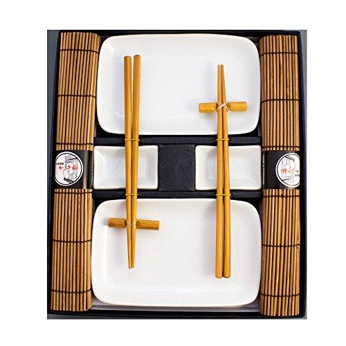 Pamai Pai® Blanca Sushi Vajilla–10Piezas 2Personas Platos marrón