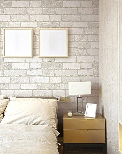 (Blanco, Paquete de 1) Papel tapiz de mural autoadhesivo clasico con patron de ladrillo 50cm X 3M (19,6\ X 118\), 0,15mm para sala de estar, habitacion, fregadero