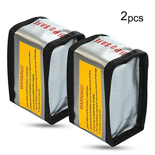 Amaoma 2 Stück Lipo Batterie Sicherer Beutel, Feuerfeste Explosionsschutz Lipo Battery Guard Tasche Sack, Gebühren Schutz Tasche, Modell Lithium Batterie Feuerfeste Tasche, Silber (S/2.5 * 2 * 3.7in)