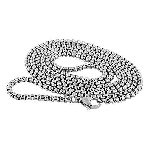 Akitsune Baca Kette 90cm | 3mm breit | Halskette Frauen Herren Box Rolo Edelstahl Karabiner Minimalist Herrenhalskette - Silber