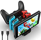 Switch Charger for Nintendo Switch, Beseller 6 in 1 Joy-Cons Charging Dock Station 2 Dual Side Type-C Port for Switch Joy-Cons and Pro Controller, LED Indicator, Charger for NS (Black)