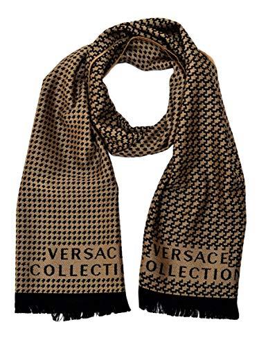 Versace Collection Men's Wool Scarf Toothhound BEIGE BLACK