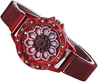 Scarlet Red color ladies watch with rotating dial new concept with eye-attracting appearance ساعة يد أنيقة مرصعة بالستراسا...