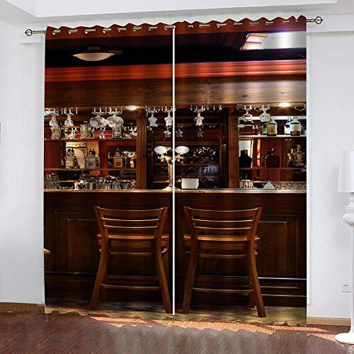 Asfwka Rideaux Occultants 3D Comptoir De Bar 3D Imprimés Polyester Rideau Chambre Salon Cuisine Salle De Bain Moderne Décoration Minimaliste 150Wx166H Cm