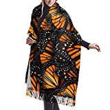 Extra Large Soft Warm Heaps Of Orange Monarch Butterflies Cashmere Blanket Scarf For Women Lady Luxury Elegant Tassel Pashmina Shawl Wrap In Spring Fall Winter - 77' L X 27'W