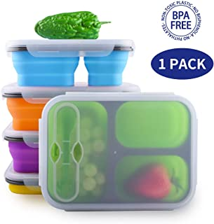 Dalebox Collapsible Lunchbox - Airtight Expandable Silicone 3 Compartments Large Bento Box Kit-BPA Free, Safe in Microwave, Dishwasher & Freezer (1 Pack) (Blue)