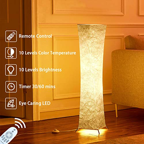 Floor Lamp, CHIPHY 39'' Standing Lamp with Remote Control, 10 Levels Dimmable and Adjustable Color Temperature 12W/2 LED Bulbs(2400 LM and 100W Equivalent) White Fabric Shade, Cool for Bedroom