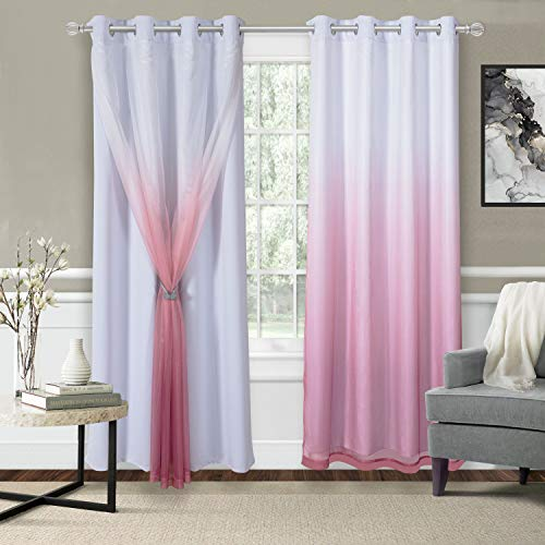 WONTEX Mix & Match Blackout and Sheer Ombre Curtains for Living Room/Bedroom, White-Burgundy, 52 x 84 inch Long – Thermal Insulated Sun Light Blocking Grommet Curtain Panels, Set of 2