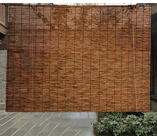 Persianas de bambú natural con persianas de caña, persianas enrollables de sombrilla tejidas a mano, persianas decorativas retro, persianas enrollables de bambú con el(Size:180cm*250cm(70.8*98.4in))
