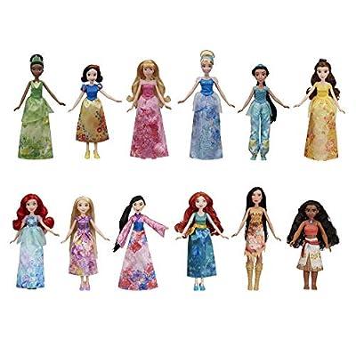 Disney Princess Royal Collection, 12 Fashion Dolls -- Ariel, Aurora, Belle, Cinderella, Jasmine, Merida, Moana, Mulan, Pocahontas, Rapunzel, Snow White, Tiana (Amazon Exclusive) from Hasbro