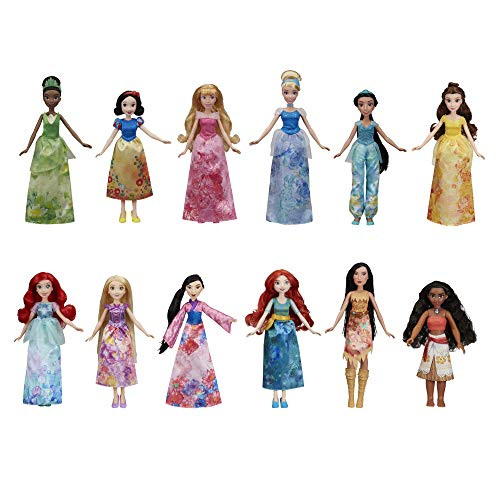Disney Princess Royal Collection, 12 Fashion Dolls -- Ariel, Aurora, Belle, Cinderella, Jasmine, Merida, Moana, Mulan, Pocahontas, Rapunzel, Snow White, Tiana (Amazon Exclusive)