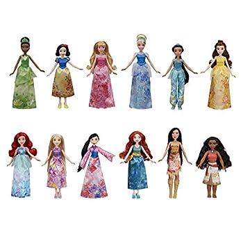 Disney Princess Royal Collection 12 Fashion Dolls -- Ariel Aurora Belle Cinderella Jasmine Merida Moana Mulan Pocahontas Rapunzel Snow White Tiana Toy for 3 Year Olds & Up