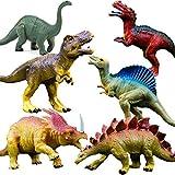 OuMuaMua Juguetes de figuras de dinosaurios realistas - Paquete de 6 'Juego de dinosaurios de plástico de gran tamaño para 7 niños Educación infantil, incluidos T-rex, Stegosaurus, Monocloniu