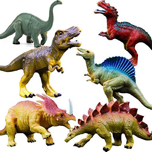 OuMuaMua Juguetes de figuras de dinosaurios realistas - Paquete de 6