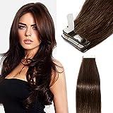 Extension Adhesive Cheveux Naturel 40 Pcs 80g - Rajout Cheveux Humain à Bande Adhesive (#2 CHATAIN FONCE, 35cm)