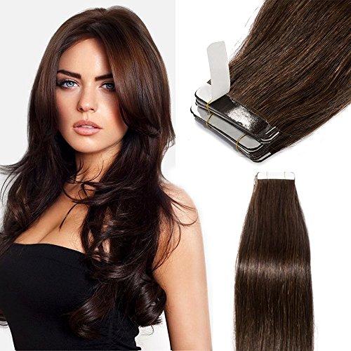 Elailite Extension Biadesive Capelli Veri Biadesivo 40 Ciocche Adesive 100g - #2 Marrone Scuro - 45cm Tape Human Hair 100% Remy Naturali