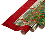 Papyrus Foil Christmas Wrapping Paper, Christmas Tidings, Flocked Flourish and Holiday Poinsettias (3 Pack)