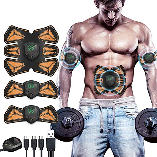 EMS Muscle Stimulator,ANLAN Abs Trainer 6 Modes Abs Stimulator Abdominal Toning Belt Home Gym Fitness Device with LED Display for Abdomen Arm Leg