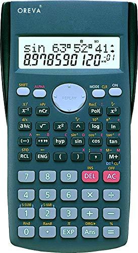 Oreva Non-Programmable Scientific Calculator Calc 2-line Display and 200+ Functions (Grey-450)
