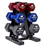Fitness Alley Neoprene Dumbbells A Frame Rack - Free Weights Hex Hand Weights - Gym Exercise Dumbbell Pairs Set wit A Frame Rack (3 Tier Rack & 15lb, 17.5lb, 20lb Dumbbells)