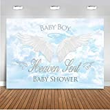 Mocsicka Heaven Sent Baby Shower Backdrop 7x5ft Vinyl White Cloud Baby Boy Angel Wings Photo Backdrops Blue Sky Heaven Sent Theme Party Banner Photography Background