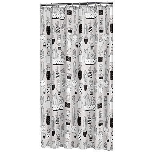 Sealskin Duschvorhang Cactus, Farbe: Grau, B x H: 180 x 200 cm