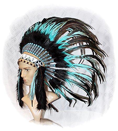 Hejoka-Shop Indianer Federhaube Kopfschmuck EDEL UNIKAT schwarz-türkis Federn Perlen für FOTOSHOOTING oder Fasching Kostüm Medizinmann Indianer
