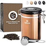 OPUX Coffee Canister   Stainless Steel Airtight Coffee Container with Scoop   Coffee Storage for Coffee Beans, Ground, Tea with Co2 Valve and Date Tracker   Coffee Jar (21 oz Copper)