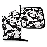 FHTDH Forniture da Cucina Guanti da Forno e Set di pentole Cute Panda Animal Oven Mitts And Pot Holders,Resistant Hot Pads with Polyester Non-Slip BBQ Gloves for Kitchen,Cooking,Baking,Grilling