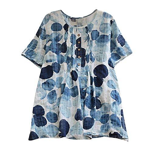 T Shirt Ladies Day Prime Amazon 2018 Summer Mode di Marca Donna Moda Inchiostro Stampato Camicette A Maniche Corte A Maniche Corte O-Collo Vintage (Color : Kaffee, Size : S)