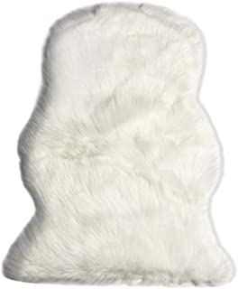 MINGZE Soft Faux Fur Sheepskin Area Rug, Fur Chair Cover Seat Pad Throw Rug, Children's Rug Shaggy Floor Cushion for Living Room, Bedroom or Bathroom, Home Décor Accent White 20x28 inches