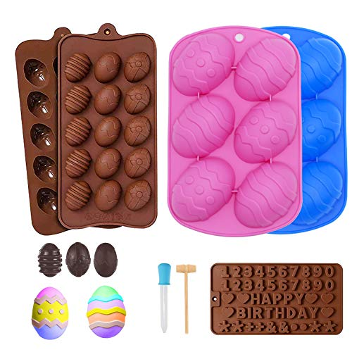 Easter Silicone Molds Set, Egg Shaped DIY Cooking Supplies with Words Molds,Non-stick Food Grade Baking Molds for Chocolate Candies, Fondant, Jello, Mousse Cake, Ice Cube Trays