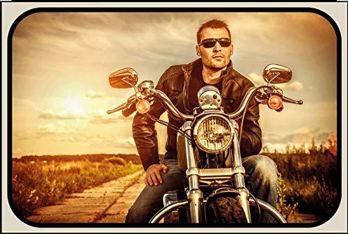 Metalen bord man op de motorfiets bord gemaakt van metaal motor pinup biker retro metalen bord tin decoratie