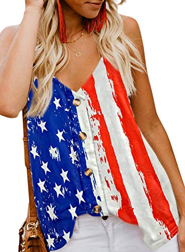 BLENCOT Women's American Flag Tank Tops 4th July Patriotic USA Flag Striped Stars Sleeveless Shirts Blouses S