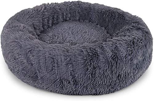 Bstteo Cama para perros, gatos y mascotas, 70 cm, con forma de donut para gatos y perros, peluche de pelo sintético con pelusas, cama con cojín para mascotas para gatos y perros medianos ...