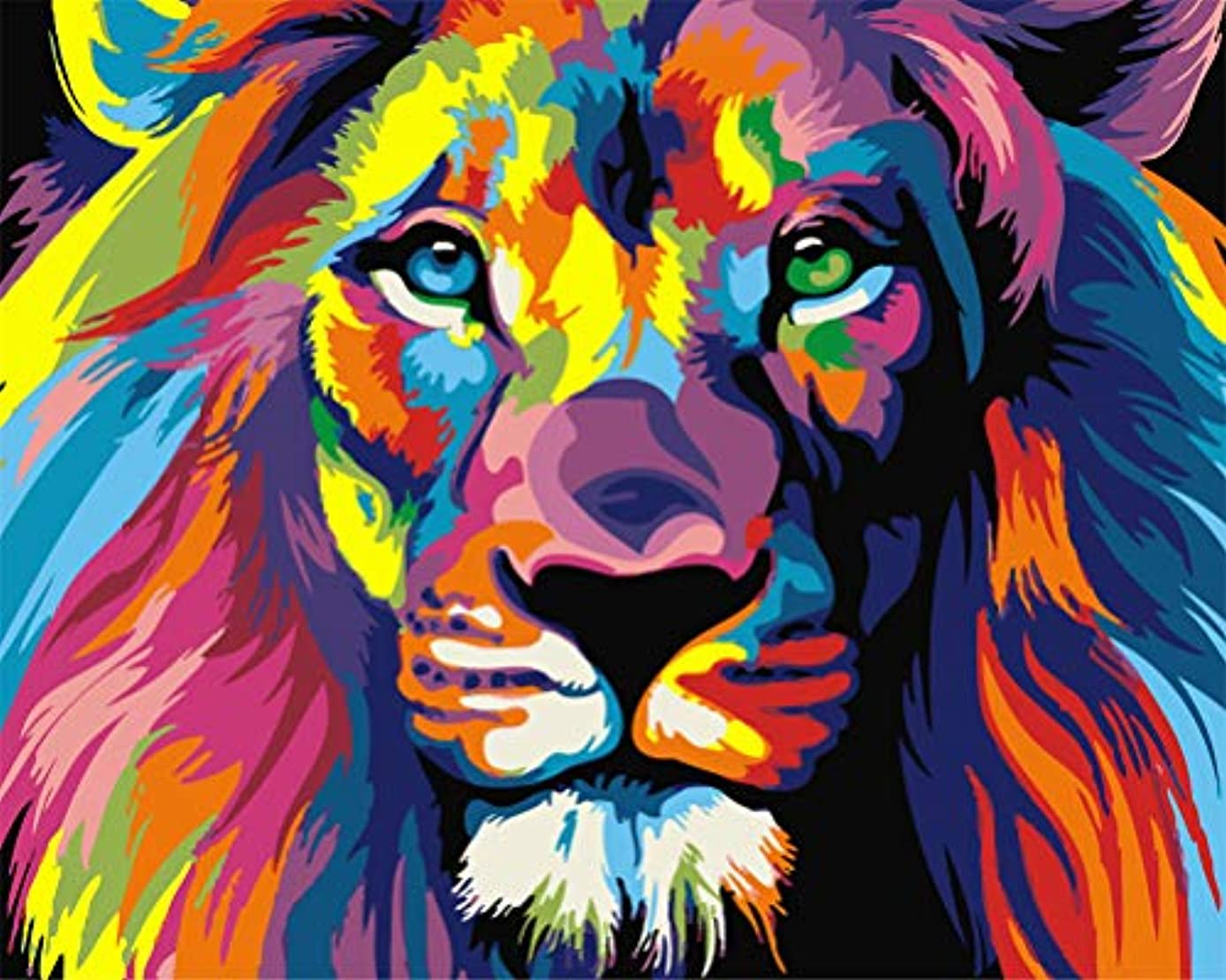 DIY Oil Painting kit, Paint by Numbers kit for Kids and Adults - Colorful Lion 16x20 inches (Without Frame)