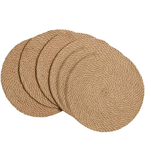 Kuinayouyi Manteles Individuales Redondos Trenzados Juego de 6 Alfombrillas Calientes de Yute Natural Hechas una Mano de 11,8 Pulgadas Resistentes Al Calor