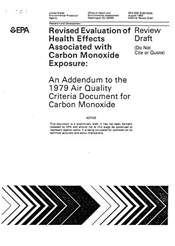 Addendum To The 1979 EPA Air Quality Criteria Document For Carbon Monoxide Revised (English Edition)