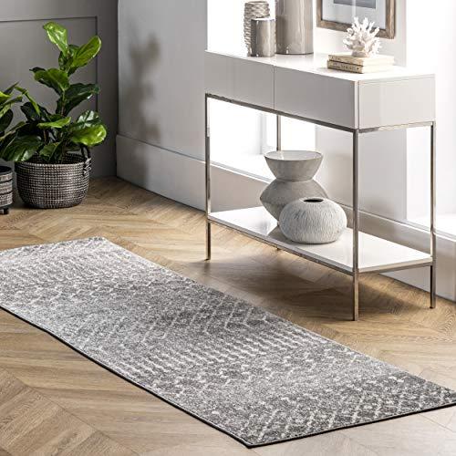 nuLOOM Marokkanische Blythe läufer Teppich, Polypropylen, 243.84 x 81.28, Dunkelgrau, 200RZBD16B-2808