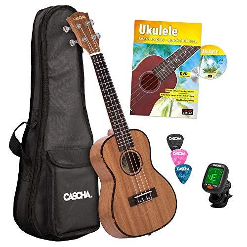 Cascha HH 2036 GB Bundle per Ukulele Concerto Premium in Mogano