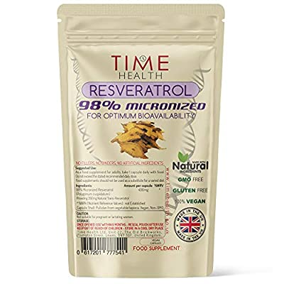 New: 98% Pure Micronized Resveratrol Capsules - Optimum Bioavailability - Natural Trans Resveratrol Derived from Japanese Knotweed - UK Manufactured - Zero Additives - Pullulan (30 Capsule Pouch)